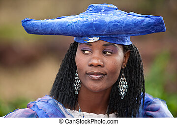 herero african woman - herero african girl with traditional...