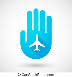 Blue hand icon with a plane