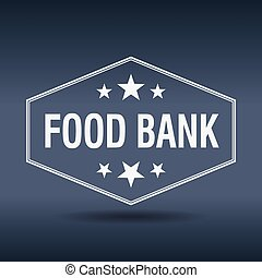 food bank hexagonal white vintage retro style label