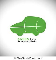 eco friendly green car concept logo vector icon