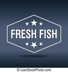 fresh fish hexagonal white vintage retro style label