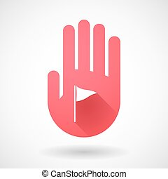 Red hand icon with a golf flag - Illustration of a red hand...