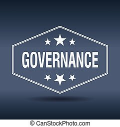 governance hexagonal white vintage retro style label
