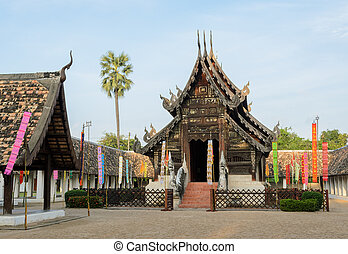 Beautiful Thai Lanna wooden temple in Thailand - Ancient...