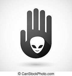 Black hand icon with an alien face