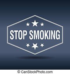 stop smoking hexagonal white vintage retro style label