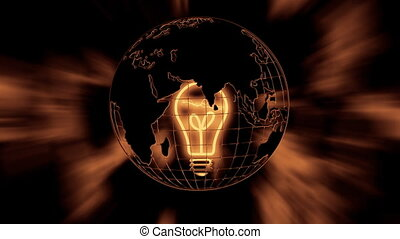 The earth and the light bulb - The earth and a warm light...