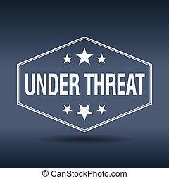 Onder, bedreiging, Zeshoekig, witte, ouderwetse, Retro,...