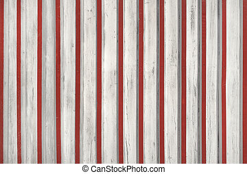 White wooden facade with red slats