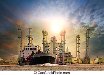 gas tanker ship and oil refinery plant background use for...