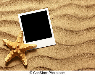 Old style empty photo card on sea sand sunny background...