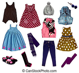 Collage of kids clothing - ollage of bright girl clothes...
