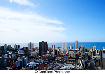 Durban city skyline - overhead view of Durban harbour and...