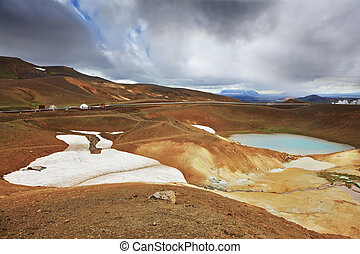 Krafla lake in the crater - July in Iceland. Krafla lake in...