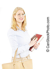 Beautiful young blond female student with books