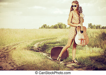 gypsy guitar - Romantic girl travelling with her guitar...