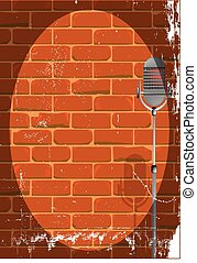 Event Poster Grunge - A microphone ready on stage against a...