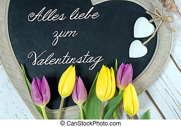 Valentines Day - Wooden panel in heart shape with the german...