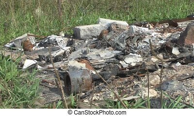 Remains of burnt house - Panoramic view of residues burnt...