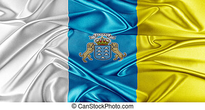 Canary Islands Flag Flag with a beautiful glossy silk...