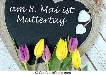 Mother day - Wooden panel in heart shape with tulips and the...