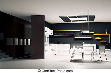 Modern kitchen interior 3d render - Interior of modern...