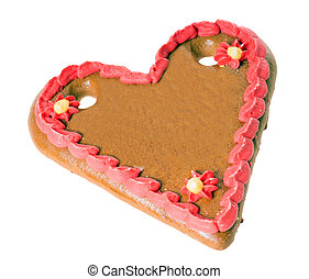 Gingerbread heart with text space