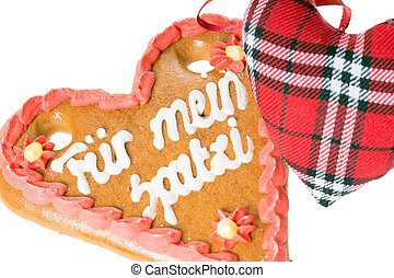 Gingerbread heart - gingerbread heart with the german words...