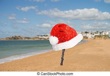 Christmas Beach - Beach with Santa Hat
