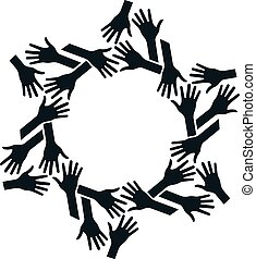 Hands Circle. Concept of teamwork and Community