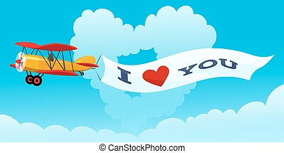 Love Message - Airplane with love message against heart...