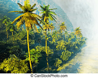 Beautiful palm trees - Beautiful rainforest with palm trees
