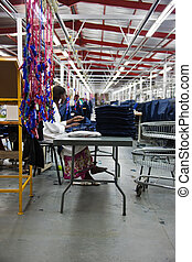 industrial clothing factory - industrial sewing machines on...