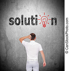 solution - businessman thinking and looking to solution...