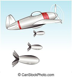 Plane throws bombs - The Warplane throws the bombsVector...