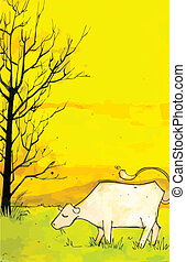 Cow in a field - High detailed hand drawn based illustration...