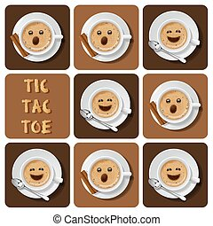 Tic-Tac-Toe of cappuccino - Illustration of cappuccino in...