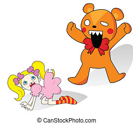Girl and Horror Teddy Bear - Little girl scared of giant...
