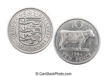 Guernsey Ten pence coin 1984 - a Ten pence coin from the...