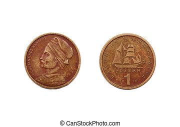 1976, dracma, Grécia, moeda, um