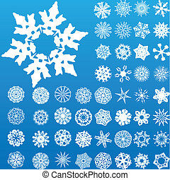 Set of 49 highly detailed complex snowflakes. Vector Image