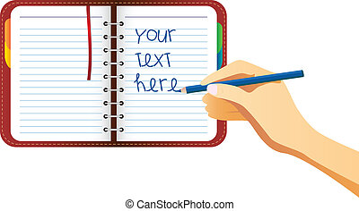 Hand Writing on organizer - Hand writing on organizer page...