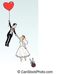 Just married couple flying with a heart shaped balloon...