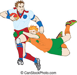 Rugby Players - Hand drawn rugby players. Highly detailed...