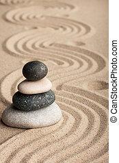 pirámide, hecho, de, piedras, posición, en,...