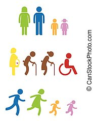 Family icon - man woman kids old pregnant handicap symbol...