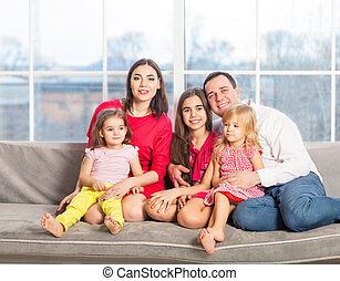 Happy young family with kids