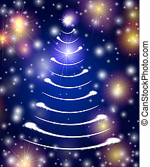 white christmas tree in blue - christmas tree drawn by white...