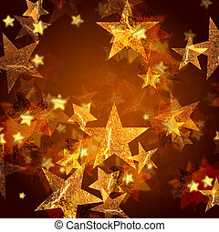 golden stars over gold background with feather center