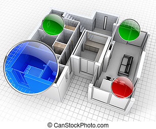 Apartment monitoring - 3D rendering of an apartment, aerial...
